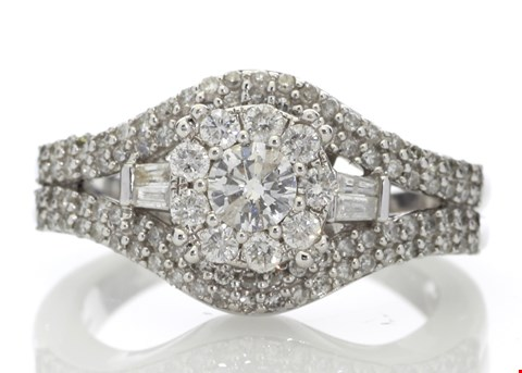 Lot 8 9ct WHITE GOLD CLUSTER CLAW SET DIAMOND RING 1.00ct