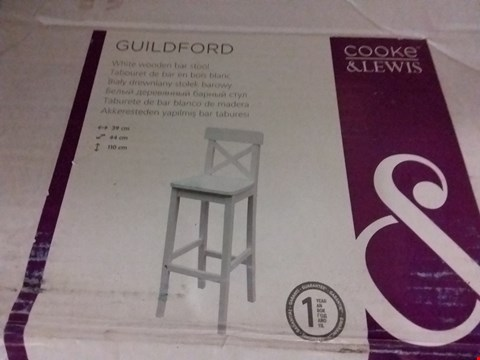 Lot 3158 GUILFORD WHITE WOODEN BAR STOOL RRP £45