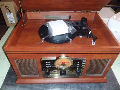 Lot 1744 RECORD PLAYER VINYL TURNTABLE WITH SPEAKERS – USB MP3 PLAYBACK/ BLUETOOTH/ FM RADIO/ CD & CASSETTE PLAYER/ VINYL LP RECORDS/ SD CARD READER