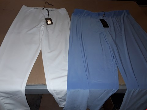 Lot 7688 BOX OF APPROXIMATELY 82 ASSORTED CLOTHING ITEMS TO INCLUDE SIDE SPLIT PALAZZO TROUSERS (BLUEBERRY, XXL), CREPE TROUSERS (IVORY, 16)