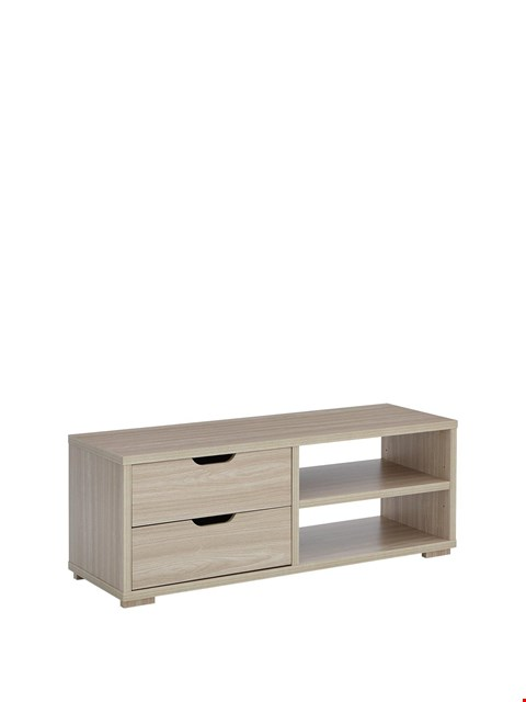 """Lot 9056 BOXED GRADE 1 ZEUS TELEVISION UNIT HOLDS UP TO 50""""- OAK EFFECT (1 BOX)  RRP £75.00"""
