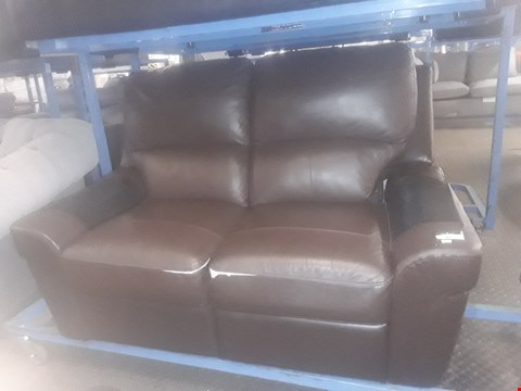 Lot 45 DESIGNER BROWN FAUX LEATHER TWO SEATER SOFA
