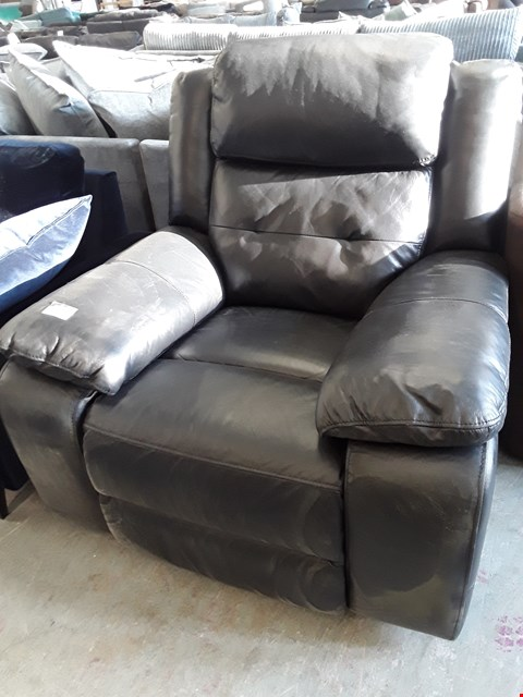 Lot 65 DESIGNER BLACK FAUX LEATHER MANUAL RECLINING EASY CHAIR