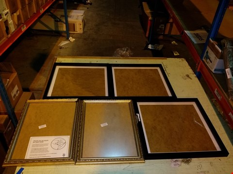 Lot 6076 LOT OF 5 CLEAR ACRYLIC PHOTO FRAMES, 2X FRAME SIZED 41X28CM AND 3X FRAME SIZE 41X41CM