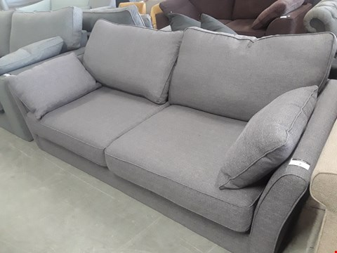 Lot 7 QUALITY BRITISH DESIGNER BOND STREET GREY FABRIC THREE SEATER SOFA WITH BOLSTER CUSHIONS