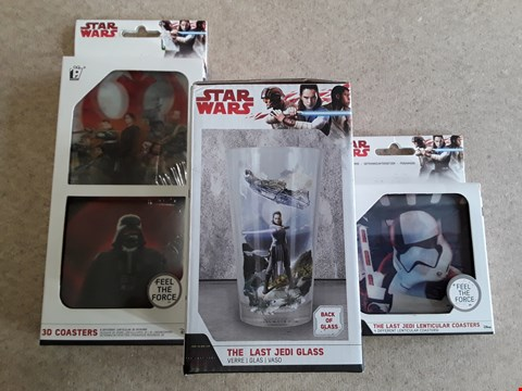 Lot 112 LOT OF 3 BRAND NEW STAR WARS ITEMS TO INCLUDE THE LAST JEDI GLASS AND 2 COASTER PACKS