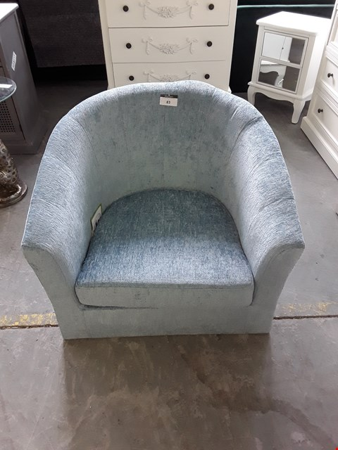Lot 83 DESIGNER LIGHT BLUE FABRIC TUB CHAIR