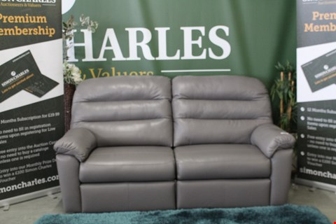 Lot 10024 QUALITY BRITISH MADE, HARDWOOD FRAMED GREY LEATHER MANUAL RECLINING 3 SEATER SOFA