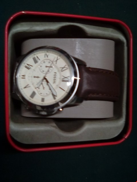 Lot 1021 FOSSIL GRANT LEATHER STRAP WATCH RRP £115