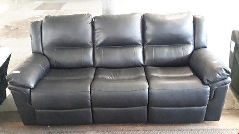 Lot 7 DESIGNER BLACK LEATHER EFFECT 3 SEATER MANUAL RECLINING SOFA