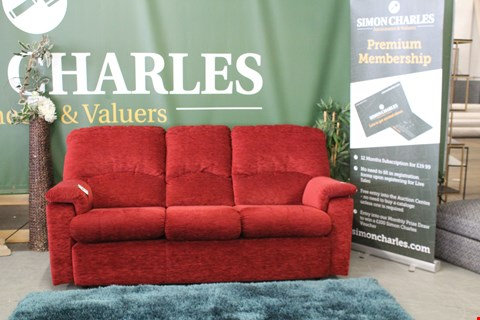 Lot 10002 QUALITY BRITISH MADE, HARDWOOD FRAMED RED CHENILLE FABRIC 3 SEATER SOFA