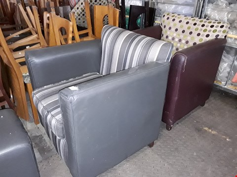 Lot 147 LOT OF 2 FAUX LEATHER AND FABRIC SQUARE TUB STYLE ARMCHAIRS