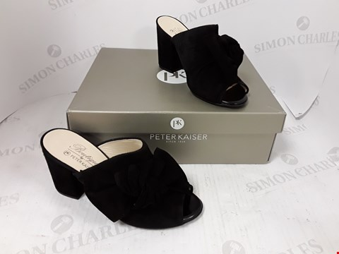 Lot 792 BOXED PAIR OF PETER KAISER BLACK HIGH HEELS SIZE 3 1/2