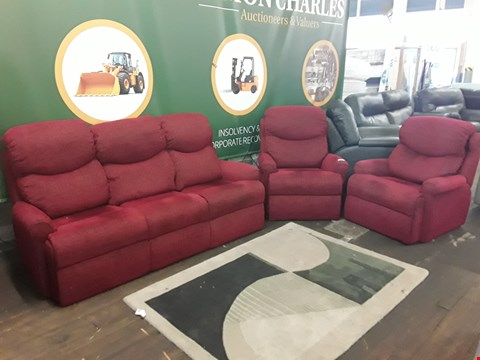 Lot 131 QUALITY BRITISH MADE, HARDWOOD FRAMED RED WEAVE FABRIC 3 SEATER SOFA AND 2 ARMCHAIRS