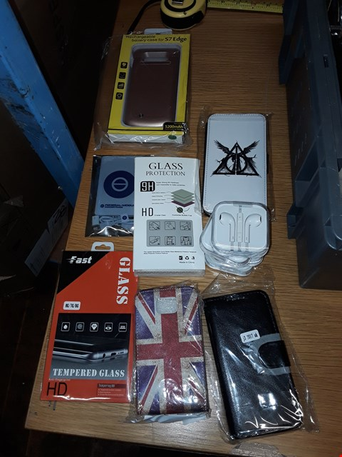 Lot 8127 A BOX OF APPROXIMATELY 20 ASSORTED MOBILE PHONE ACCESSORIES TO INCLUDE,  UNION JACK PHONE CASE , IPHONE EARPHONES AND TEMPERED GLASS FOR MOBILE PHONES ETC