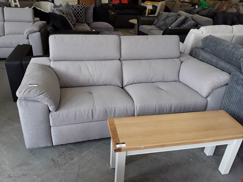 Lot 133 DESIGNER GREY FABRIC 3 SEATER MANUAL RECLINING SOFA WITH ADJUSTABLE HEADRESTS