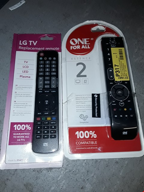 Lot 1484 BOX OF APPROXIMATELY 15 TV REMOTES TO INCLUDE ALL FOR ONE TV REMOTE AND LG REPLACEMENT TV REMOTE (BOX  NOT INCLUDED)