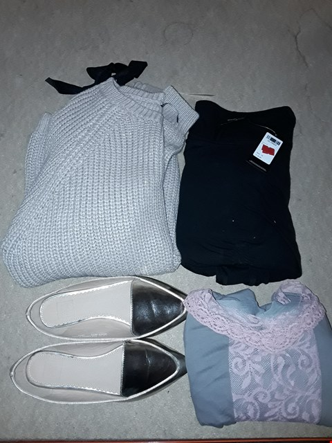 Lot 9349 LOT OF 4 BOXES OF APPROXIMATELY 98 CLOTHING ITEMS TO INCLUDE SIMPLY BE BODYCON BLACK DRESS, CAPSULE COLD SHOULDER JUMPER, POINTED GOLDEN LOAFER SHOES, ECT