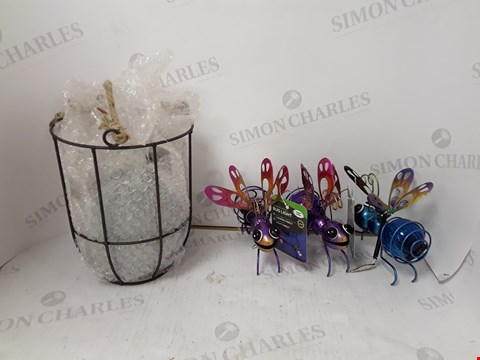 Lot 9075 LOT OF 2 ASSORTED ITEMS TO INCLUDE GISELA GRAHAM CONCRETE POT AND SMART SOLAR BUG LIGHT SET (BOTH ITEMS ARE DAMAGED)