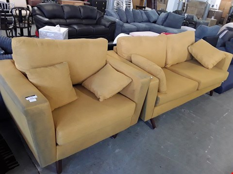 Lot 342 DESIGNER MUSTARD FABRIC 3 SEATER SOFA AND SNUGGLE CHAIR