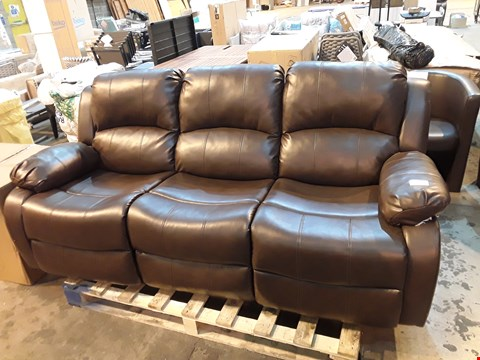 Lot 9094 DESIGNER BROWN FAUX LEATHER THREE SEATER SOFA