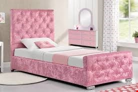 Lot 1071 BOXED CRUSHED VELVET BEAUMONT PINK SINGLE BED (3 OF 3 BOXES) RRP £450