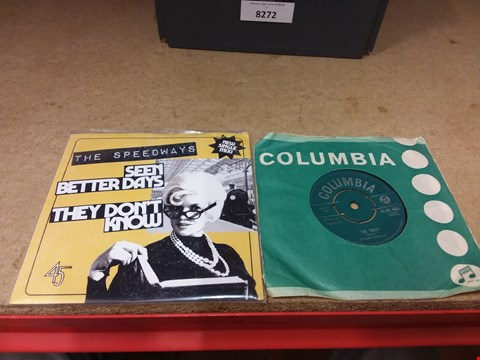 """Lot 8272 BOX OF ASSORTED 9"""" VINYL RECORDS INCLUDING CHUBBY CHECKER AND THE SPEEDWAYS"""