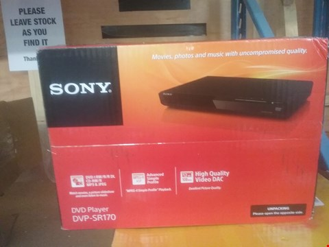 Lot 432 SONY DVP-SR170 DVD PLAYER  RRP £52