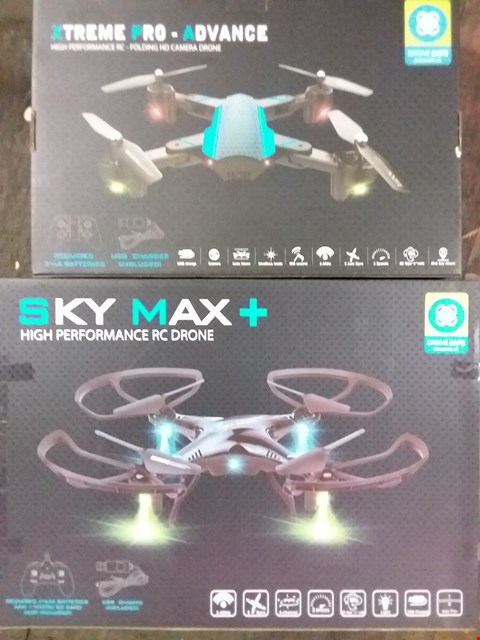 Lot 2608 LOT OF 2 ASSORTED DRONES TO INCLUDE XTREME PRO ADVANCE FOLDABLE DRONE, SKY MAX+ DRONE