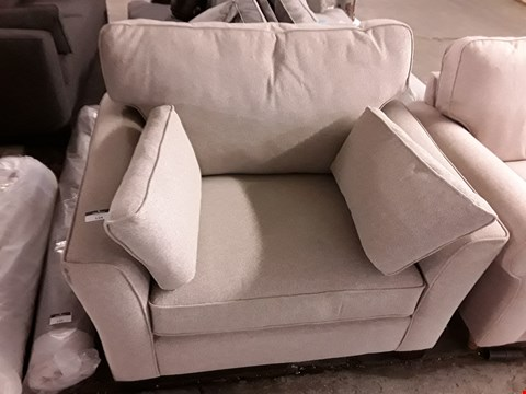 Lot 134 LARGE LIGHT GREY EASY CHAIR WITH BOLSTER CUSHIONS