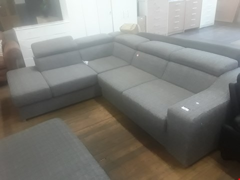 Lot 46 DESIGNER HENDERSON GREY FABRIC LARGE CHSISE SOFA WITH ADJUSTABLE HEADRESTS RRP £819.99