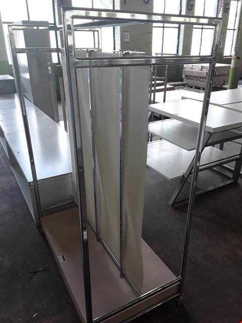 Lot 2073 DOUBLE SIDED METAL MOVABLE DISPLAY UNIT WITH CANVAS CENTRE DIVIDER