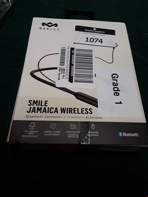Lot 1074 HOUSE OF MARLEY SMILE JAMAICA WIRELESS EARPHONES RRP £60