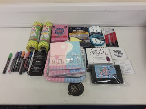 Lot 8059 LOT OF ASSORTED HOUSEHOLD ITEMS TO INCLUDE CLEANING CLOTHS, GLITTER PENS, GIRL OR BOY PAPER PLATES/NAPKINS
