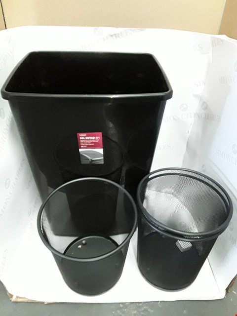 Lot 21 LOT OF 4 ASSORTED BINS INCLUDES PLASTIC 50L SWING BIN AND 3 METAL WIRE BINS
