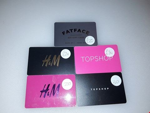 Lot 21 5 ASSORTED GIFT CARDS INCLUDING TOPSHOP, FATFACE AND H&M TOTAL VALUE £110