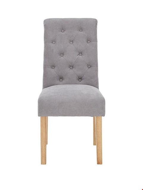 Lot 2399 PAIR OF FABRIC SCROLL BACK DINING CHAIRS - GREY/OAK RRP £250.00