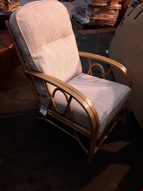 Lot 3671 BOXED BAMBOO ARMCHAIR WITH NATURAL CUSHIONS