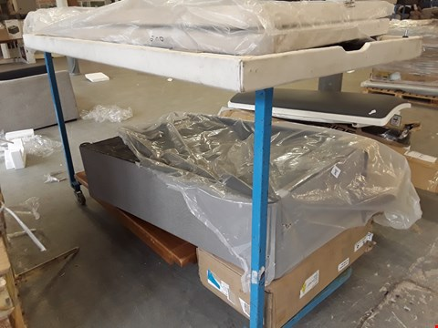 Lot 1003 TROLLEY OF ASSORTED FURNITURE PARTS,  INCLUDING, TABLE TOP, DIVAN BASE SECTION, BOX 2 OF 5 PRAGUE BEDROOM SUITE, (TROLLEY NOT INCLUDED)