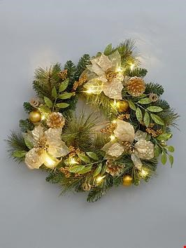 Lot 1016 BRAND NEW BOXED GOLD POINSETTA PRE-LIT WREATH (1 BOX) RRP £24.99