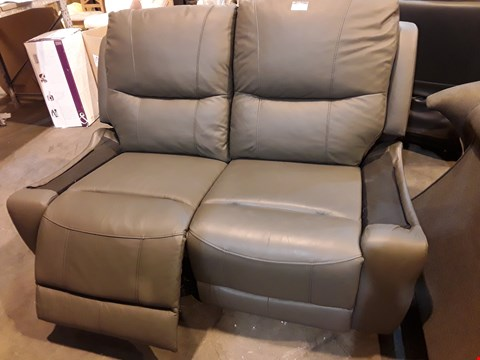 Lot 527 DESIGNER GREY LEATHER POWER RECLINING TWO SEATER SOFA