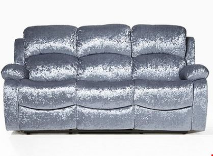 Lot 571 BOXED SILVER CRUSHED VELVET 3 SEATER RECLINING SOFA