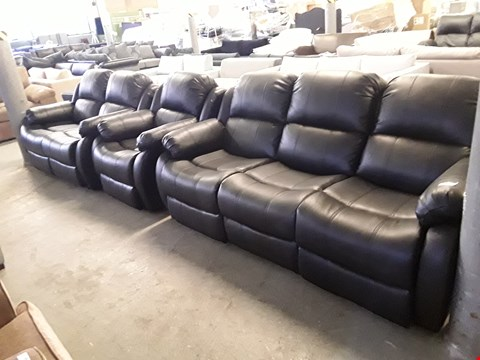 Lot 69 DESIGNER BLACK FAUX LEATHER LOUNGE SUITE COMPRISING A MANUAL RECLINING 3 SEATER SOFA, 2 SEATER SOFA AND  ARMCHAIR