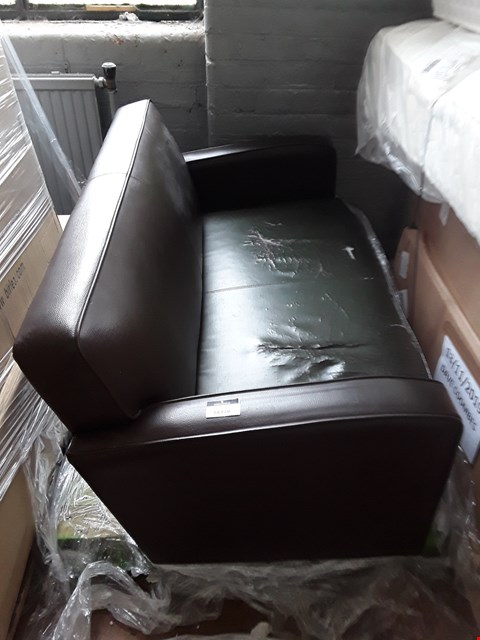 Lot 7010 DESIGNER DARK BROWN FAUX LEATHER TWO SEATER SOFA