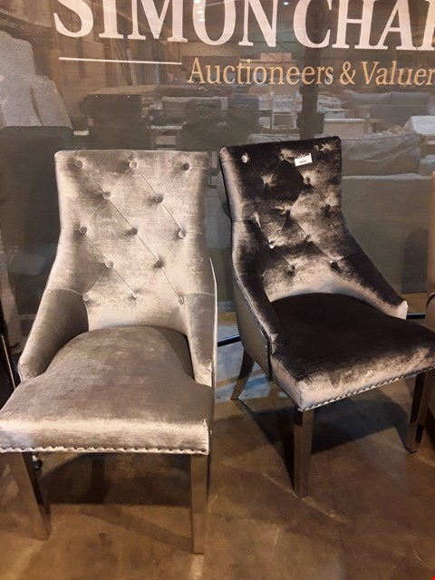 Lot 9054 PAIR OF DESIGNER SILVER BUTTONED FABRIC & CHROME DINING CHAIRS