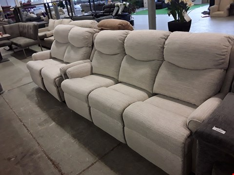 Lot 12506 QUALITY BRITISH MADE, HARDWOOD FRAMED CREAM FABRIC POWER RECLINING 2 AND 3 SEATER SOFAS