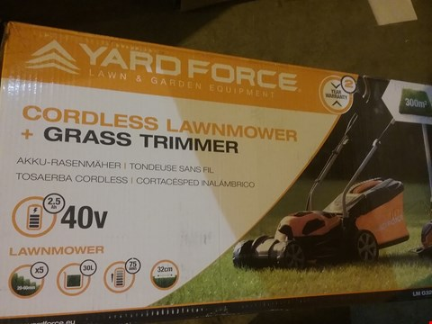 Lot 2791 YARD FORCE 32CM ROTARY CORDLESS LAWNMOWER AND GRASS TRIMMER TWIN PACK