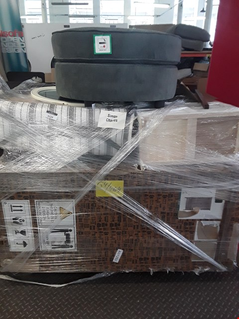 Lot 373 PALLET OF ASSORTED FURNITURE PARTS TO INCLUDE A DESIGNER GREY FABRIC FOOT STOOL, AN OVAL CREAM FRAMED MIRROR, DESIGNER MAHOGANY EFFECT TWO DOOR TWO DRAWER WARDROBE PARTS ETC