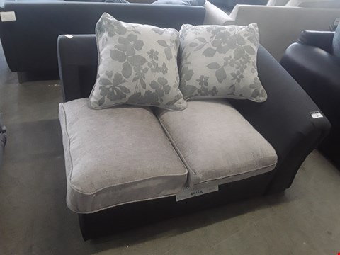 Lot 24 DESIGNER CHARCOAL FABRIC AND SILVER VELOUR SOFA SECTION