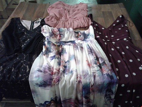 Lot 9385 4 BOXES CONTAING APPROXIMATELY 97 ASSORTED WOMEN'S CLOTHING ITEMS TO INCLUDE LM PRINT MAXI DRESS - PINK PRINT, FRILL DETAIL DRESS - PINK, LD PANEL DRESS - BLACK, S&J MESH DRESS - BURGUNDY